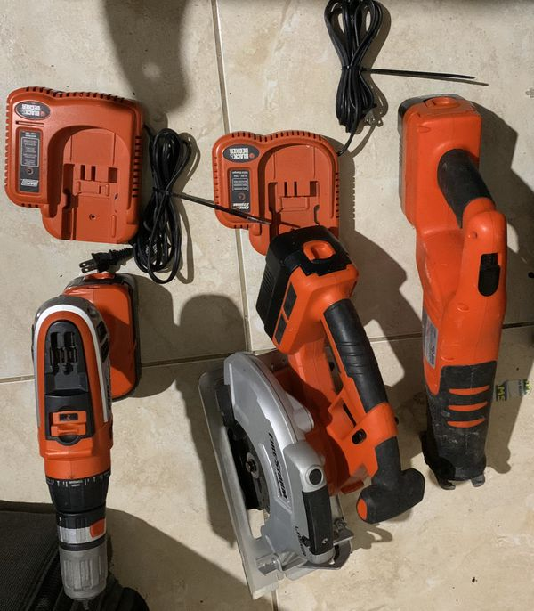 Black and Decker Storm Drill and Turns to Impact Drill, Circular Saw , Saw, all have Batteries and and 2 Fast chargers No Trades/ Pick Up Only