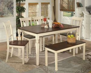 Whitesburg 6 piece rectangular dining room table for side chairs and bench for Sale in Orlando, FL