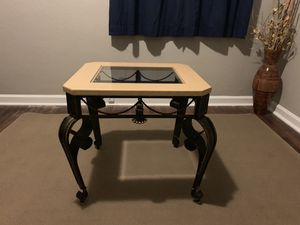 Marble and Wrought iron end table/coffee table with glass top for Sale in Lexington, KY