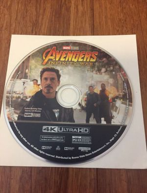 Avengers Infinity War Movie 4K disc only for Sale in Los Angeles, CA