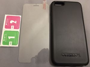 iPhone 6/6s Plus OtterBox Symmetry Cover In Black With A Tempered Glass Screen Protector for Sale in Albuquerque, NM