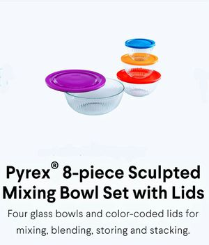 Pyrex 8pc Sculpted Mixing bowl set with colorful lids for Sale in Aventura, FL