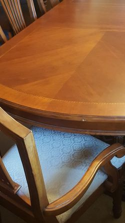 Beautiful Dining Table And 6 Fabric Covered Chairs for Sale in Fresno,  CA