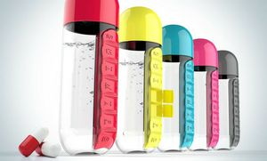2-in-1 Water Bottle with Pill Organizer ( red,black,blue,yellow) for Sale in Woodbridge, VA