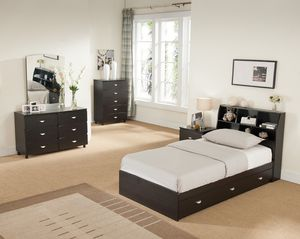 Twin Size 3-Drawer Storage Bed Frame with Bookcase Headboard, Espresso for Sale in Garden Grove, CA