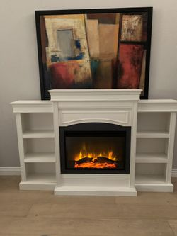 "Stunning White Fireplace Mantel With Remote And Bookshelves On The Side Tv Stand 70"" Long for Sale in Peoria,  AZ"