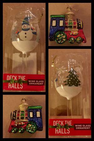 """4""""Train & 5"""" Wine Glass Ornaments 2/$5 for Sale in Seal Beach, CA"""