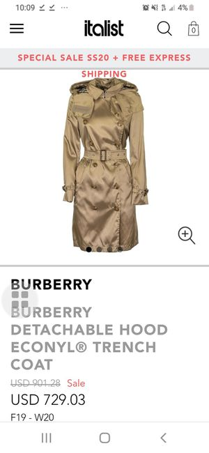 BURBERRY DETACHABLE HOOD ECONYL® TRENCH COAT for Sale in Seattle, WA