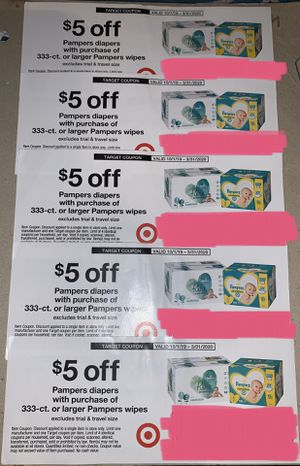 5 Target coupons: $5 off Pampers diapers, exp 3/31/20 for Sale in Plantation, FL