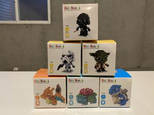 Gift series micro sized building blocks- storm trooper, darth Vader, yoda, charizard, blastoise, ivysaur for Sale in Saint Charles, MO