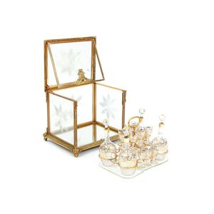 Antique French Gilt Bronze and Glass Tantalus Set - 19 Piece Set for Sale in Washington, DC