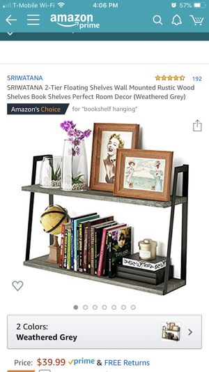 2 tier wall mounted floating shelves weathered grey $30 OBO for Sale in San Bernardino, CA