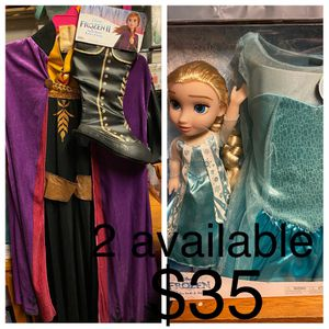 Disney Elsa doll And Gown With Anna Boots And Gown Set for Sale in Azusa, CA