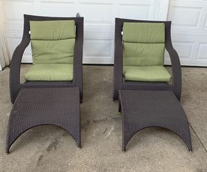 Weatherproof Wicker Pool Chairs And Ottomans for Sale in Dallas, TX