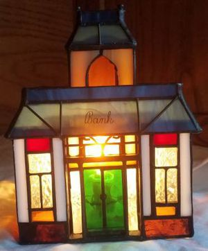 Holiday Creations Stained Glass Bank in Box Christmas Village for Sale in Fraser, MI