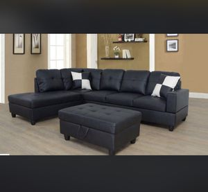 Brand New Sectional Couch with storage ottoman black for Sale in Fremont, CA