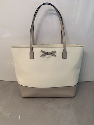 Kate Spade Leather Tote — white & gray for Sale in Wichita, KS
