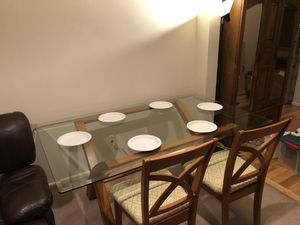 Glass dining table and 4 chairs for Sale in Tacoma, WA