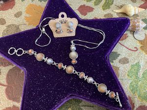 Moonstone ,pearl ,sterling set (earings ,necklace with chain bracelet. ) By Sarda jewelers for Sale in St. Charles, IL