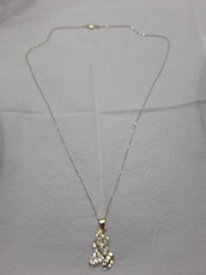 24 inch real silver dipped in 14kt gold diamond bead chain with gold plated praying hands. Great gift 110 obo for Sale in Mechanicsburg, PA