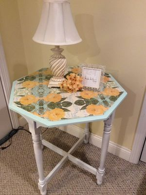 Unique Octagon Decoupage Table, Nightstand, End Table, Console for Sale in Marshfield, MA