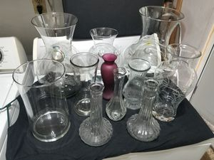 Glass Pottery COLLECTION Huge Flower Vases ~ Set of 11 Pieces for Sale in Hollywood, FL