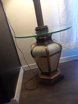 Antique glass table lamp , bottom lights up for Sale in Las Vegas, NV