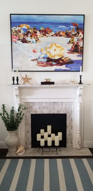 Faux fireplace. Genuine mantle from antebellum Tennessee home. Customized with travertine surround. Originally distressed. Perfect for coastal, farm for Sale in Nashville, TN