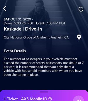 Kaskade 10.31 7pm GA for Sale in Los Angeles, CA