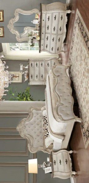 Ashford Weathered White Panel Brand New 4 PC Queen & king size bedroom set (Bed Frame, dresser, mirror, nightstand) for Sale in Stafford, TX