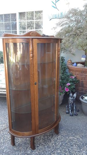Solid oak storage cabinet for Sale in Rancho Cordova, CA