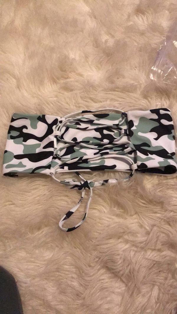 Lace -up bikini top camo swimsuit