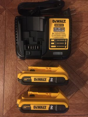 DeWalt. 12V/20V MAX Lithium Ion Charger and 2-Piece XR 2.0Ah Battery Pack. DCB203. for Sale in Brooklyn, NY