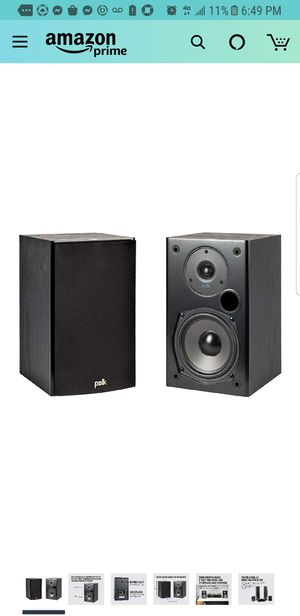 Polk Audio T15 100 Watt Home Theater Bookshelf Speakers – Hi-Res Audio with Deep Bass Response | Dolby and DTS Surround | Wall-Mountable| Pair, Black for Sale in City of Industry, CA