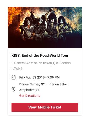 2- KISS tickets, Darien Lake Amphitheater, August 23 at 7:30PM for Sale in Ithaca, NY