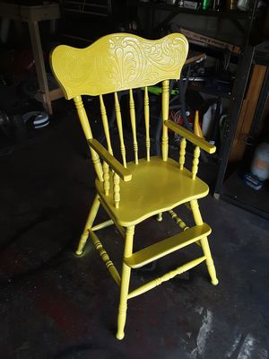 Vintage Painted Yellow Wooden Children's High Chair- Antique Wood w/Beautiful Handcarved Detail for Sale in Phoenix, AZ
