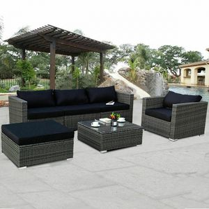 6 Piece Gray Rattan Patio Set Outdoor Furniture Sets Includes Cushions for Sale in Sacramento, CA