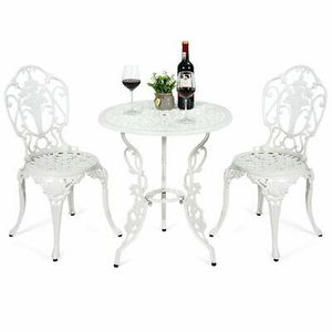 3 Pcs White Table Chairs Furniture Bistro Set Outdoor Decor for Sale in Los Angeles, CA