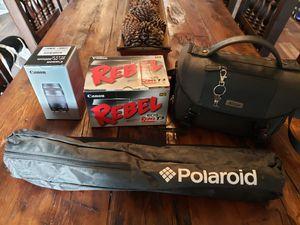 Canon Rebel T3, Polaroid tripod, additional Canon 75-300mm lens, Nikon camera bag for Sale in Surprise, AZ