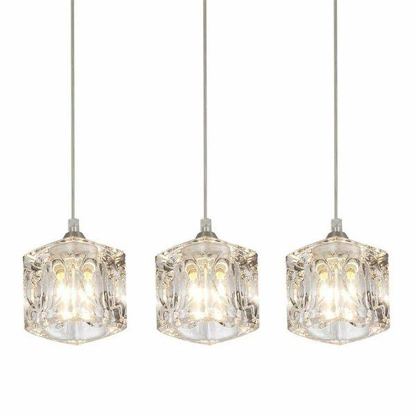 Kitchen 3 Pendant Lighting Fixture Modern Crystal Hanging Ceiling Island Set 3 For Indoor Lighting