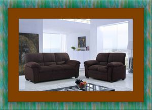 Chocolate microfiber sofa and love seat free delivery for Sale in Crofton, MD