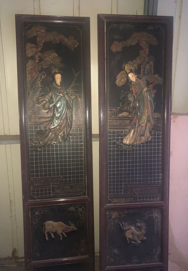Hand crafted stone and wood Chinese pictures. 2seasons