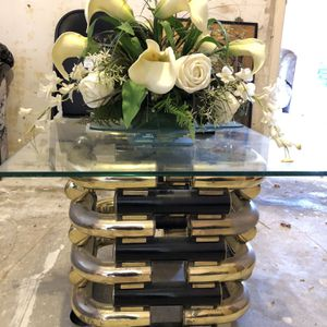 Vintage, black and gold end Tables, Dresser, Glass Top Table and Vanity W/mirror Set for Sale in Houston, TX