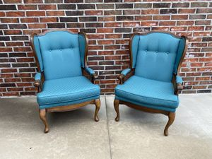 Beautiful Wingback Chairs - Solid Wood & Very Good Condition for Sale in Broken Arrow, OK