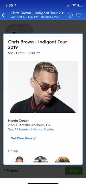 Chris Brown - Indigoat Tour 2019 for Sale in Garden Grove, CA