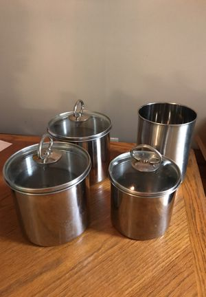 Stainless steel utensils holder and kitchen storage containers with with glass lids for Sale in Alexandria, VA