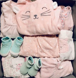 🍭 Baby girl clothes Newborn 3 6 9 months onesies footed pajamas sweater dress sweater jackets hats socks bibs pants for Sale in San Diego, CA