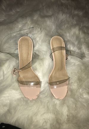 Clear sandal heels size 8 worn twice for Sale in Fort Washington, MD