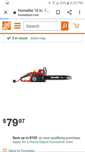 Homelite 16 in electric chainsaw for Sale in Yucaipa, CA