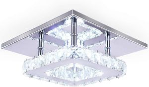 Mini Square Crystal Chandelier 7.9 Inches Led for Bedrooms Dinning Rooms Hallway(Cool White,15W) for Sale in Henderson, NV